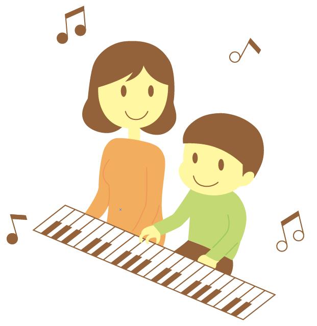ピアノを楽しむ親子のイラスト